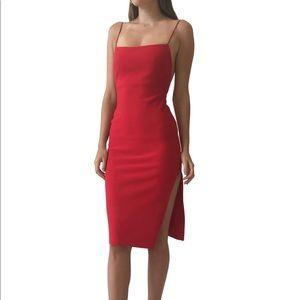 Bec & Bridge Red Sheath Dress, straight neck, US 8